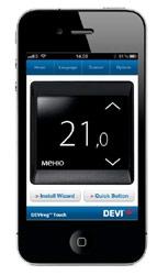 """Управление системой """"теплый пол"""" при помощи смартфона. Программа доступна в App Store и Android Market."""