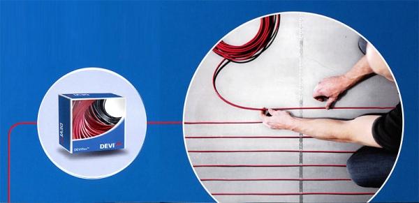 Монтаж теплого пола с помощью нагревательного кабеля DEVIflex