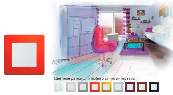 Одноклавишный выключатель Legrand Etika в интерьере гостиной