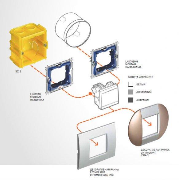 Схема монтажа выключателей Living Light