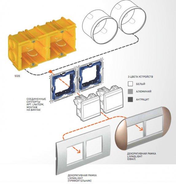 Схема монтажа двойных выключателей Living Light