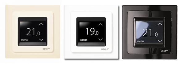 Терморегуляторы для теплого пола DEVIreg Touch (слоновая кость, белый, черный)
