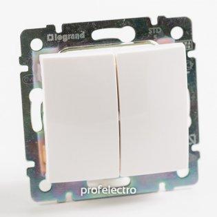 774405 Выключатель двухклавишный белый без рамки 10А 250В Valena Legrand на profelectro.com.ua