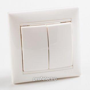 774408 Выключатель двухклавишный проходной (универсальный) белый  с рамкой 10А 250В Valena Legrand на profelectro.com.ua
