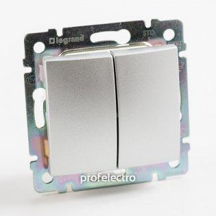 770108 Выключатель двухклавишный проходной (универсальный) алюминий без рамки 10А 250В Valena Legrand на profelectro.com.ua