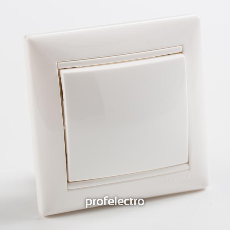 Выключатель одноклавишный крестовой белый с рамкой Valena