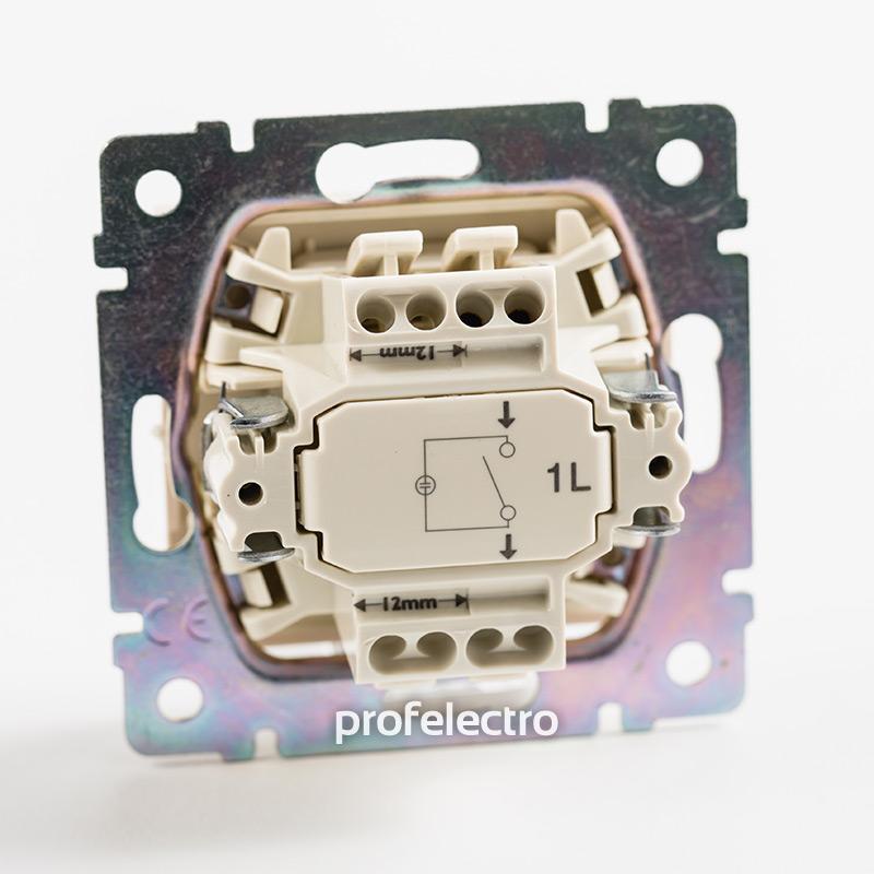 Механизм выключателя одноклавишного с подсветкой алюминий Valena