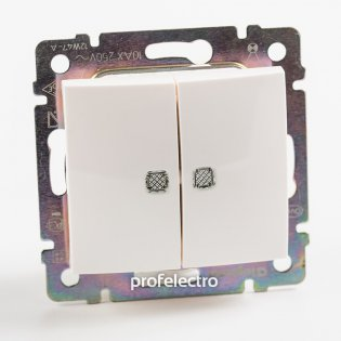774428 Выключатель двухклавишный с подсветкой белый без рамки 10А 250В Valena Legrand на profelectro.com.ua