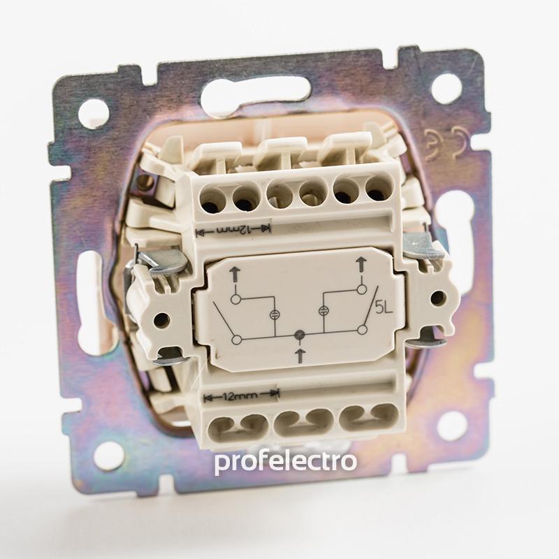 Механизм выключателя двухклавишного с подсветкой белого Valena