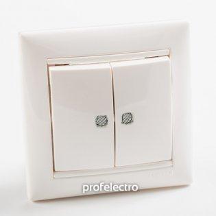 774428 Выключатель двухклавишный с подсветкой белый  с рамкой 10А 250В Valena Legrand на profelectro.com.ua