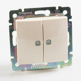 774328 Выключатель двухклавишный с подсветкой слоновая кость без рамки 10А 250В Valena Legrand на profelectro.com.ua