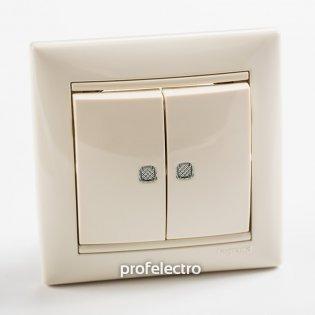 774328 Выключатель двухклавишный с подсветкой слоновая кость  с рамкой 10А 250В Valena Legrand на profelectro.com.ua