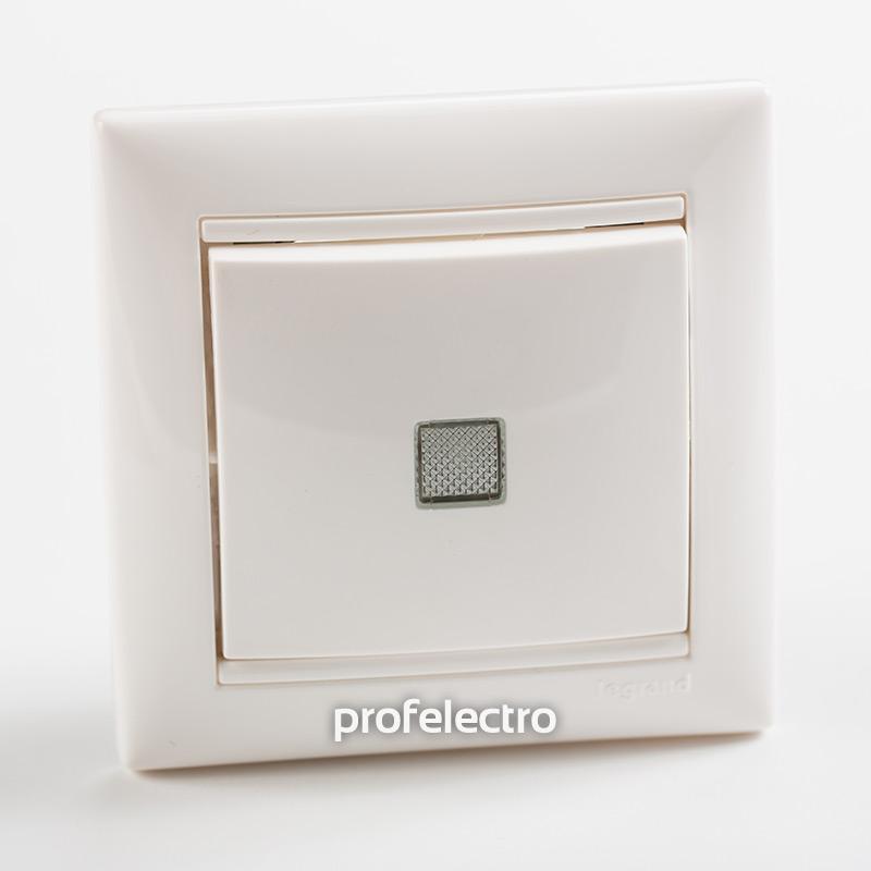 Выключатель одноклавишный проходной с подсветкой белый с рамкой Valena