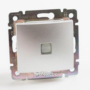 770126 Выключатель одноклавишный проходной с подсветкой алюминий без рамки 10А 250В Valena Legrand на profelectro.com.ua