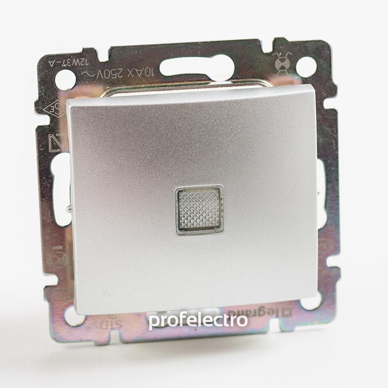 Выключатель одноклавишный проходной с подсветкой алюминий без рамки Valena