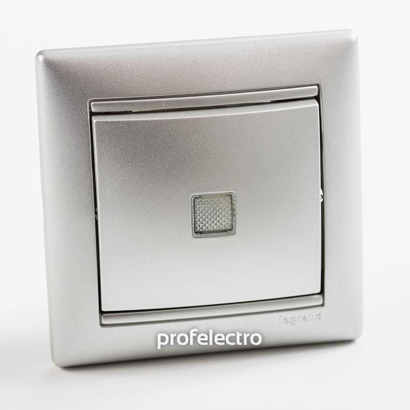 Выключатель одноклавишный проходной с подсветкой алюминий с рамкой Valena