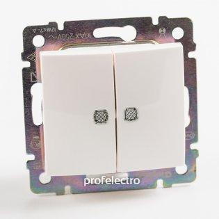 774212 Выключатель двухклавишный проходной с подсветкой белый без рамки 10А 250В Valena Legrand на profelectro.com.ua