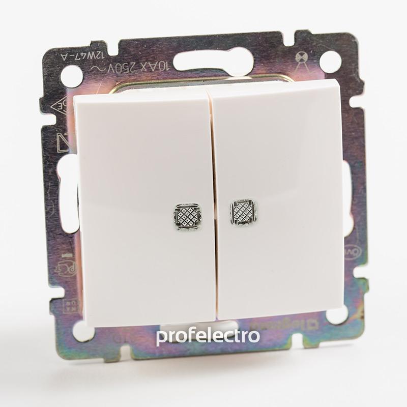 Выключатель двухклавишный проходной с подсветкой белый без рамки Valena