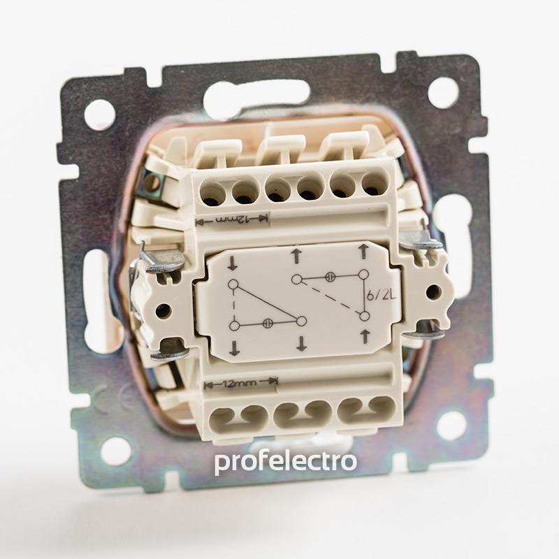 Механизм выключателя двухклавишного проходного с подсветкой белого Valena