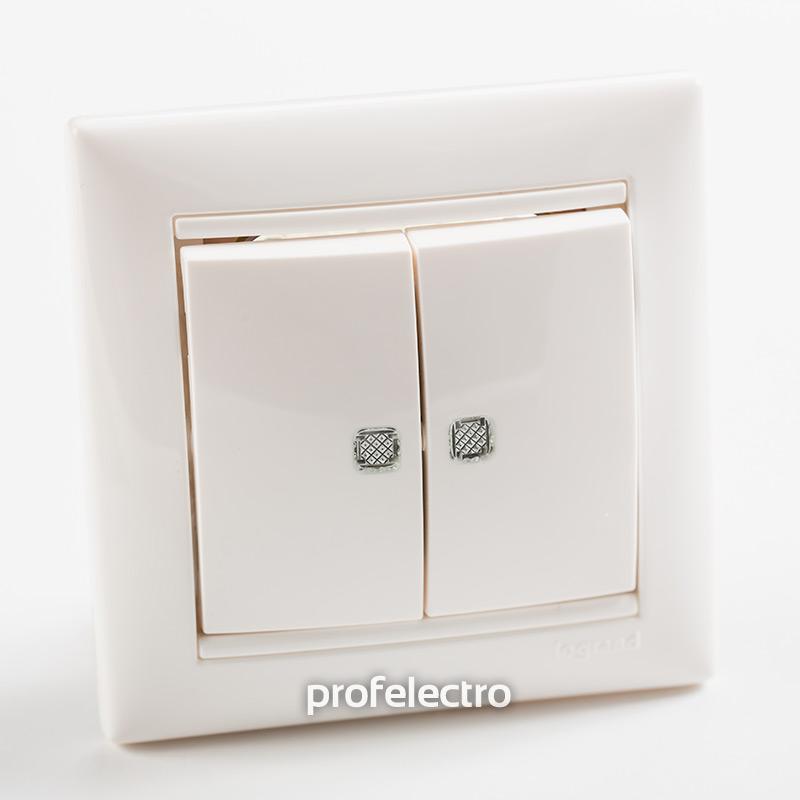 Выключатель двухклавишный проходной с подсветкой белый с рамкой Valena
