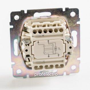770148 Механизм выключателя одноклавишного крестового с подсветкой алюминий 10А 250В Valena Legrand на profelectro.com.ua