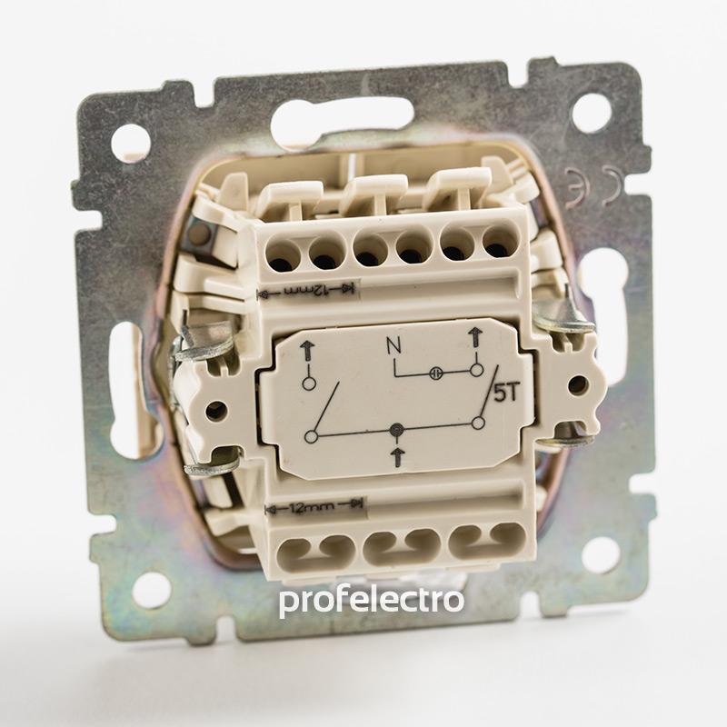 Механизм выключателя двухклавишного с индикацией белого Valena