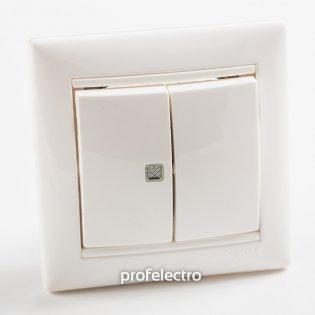 774445 Выключатель двухклавишный с индикацией белый с рамкой 10А 250В Valena Legrand на profelectro.com.ua