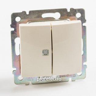 774345 Выключатель двухклавишный с индикацией слоновая кость без рамки 10А 250В Valena Legrand на profelectro.com.ua