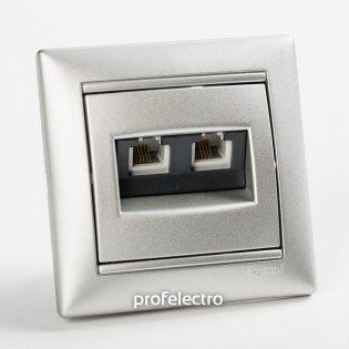 770139 Розетка телефонная два выхода алюминий с рамкой Valena Legrand на profelectro.com.ua