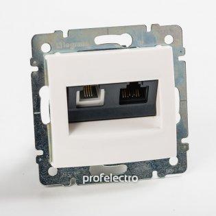 770080 Розетка комбинированная телефон и компьютер белая без рамки Valena Legrand на profelectro.com.ua