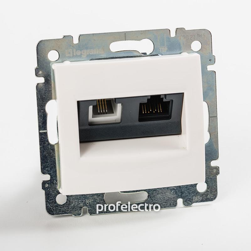 Розетка комбинированная телефон и компьютер белая без рамки Valena