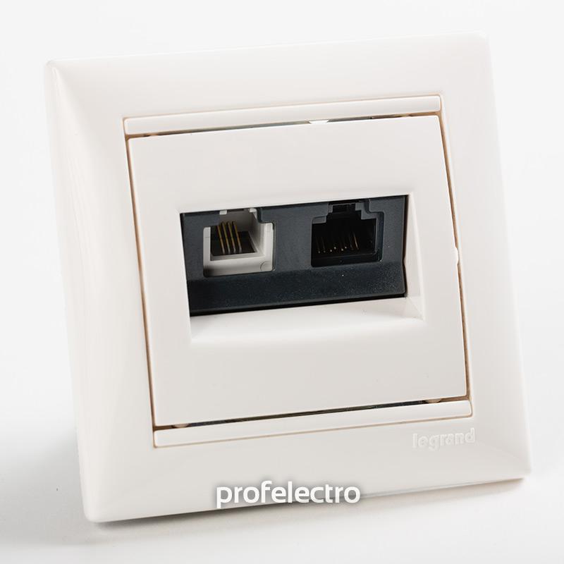 Розетка комбинированная телефон и компьютер белая с рамкой Valena