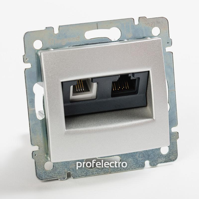 Розетка комбинированная телефон и компьютер алюминий без рамки Valena