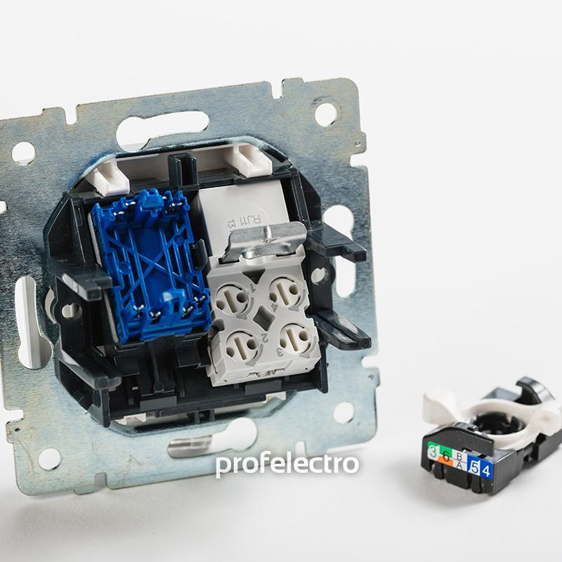 Механизм розетки комбинированной телефон и компьютер алюминий Valena