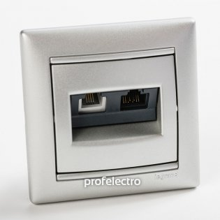 770280 Розетка комбинированная телефон и компьютер алюминий с рамкой Valena Legrand на profelectro.com.ua