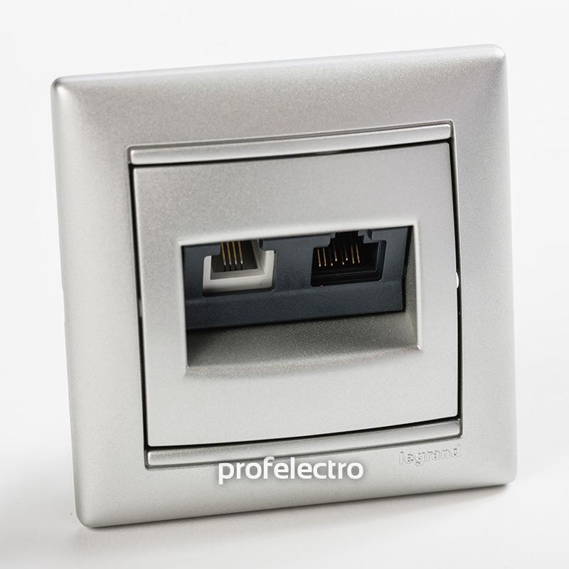 Розетка комбинированная телефон и компьютер алюминий с рамкой Valena