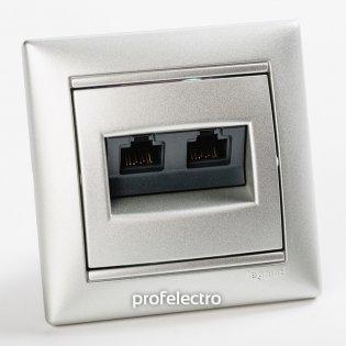 770231 Розетка информационная RJ45 кат.5е два выхода алюминий с рамкой Valena Legrand на profelectro.com.ua