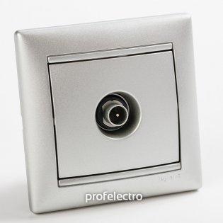 770129 Розетка телевизионная TV-простая алюминий с рамкой Valena Legrand на profelectro.com.ua
