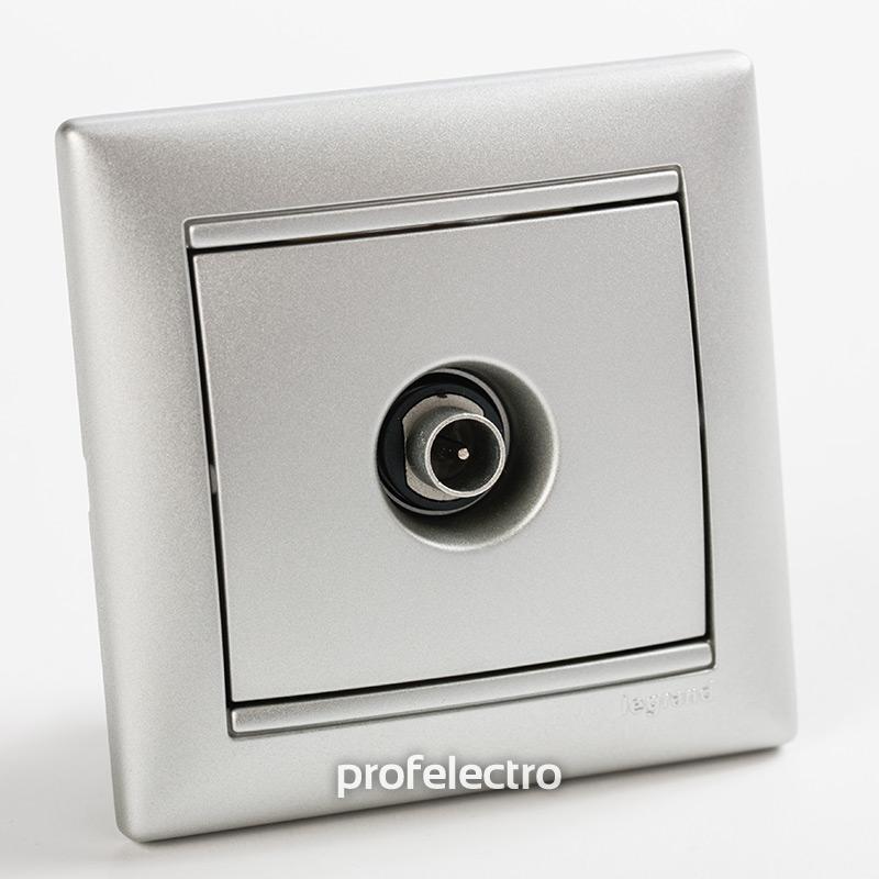 Розетка телевизионная TV-проходная  алюминий с рамкой Valena