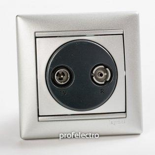 770134 Розетка телевизионная TV-R-проходная алюминий с рамкой Valena Legrand на profelectro.com.ua