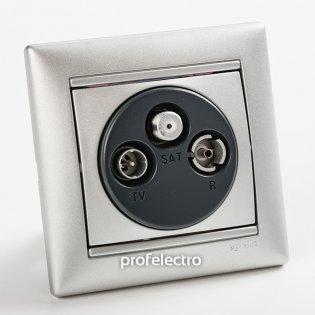 770135 Розетка телевизионная TV-R-SAT-простая алюминий с рамкой Valena Legrand на profelectro.com.ua