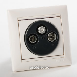 770410 Розетка телевизионная TV-R-SAT-концевая два входа белая с рамкой Valena Legrand на profelectro.com.ua