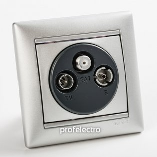 770210 Розетка телевизионная TV-R-SAT-концевая два входа алюминий с рамкой Valena Legrand на profelectro.com.ua
