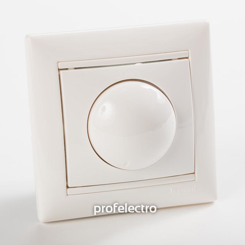 Светорегулятор поворотный белый с рамкой Valena