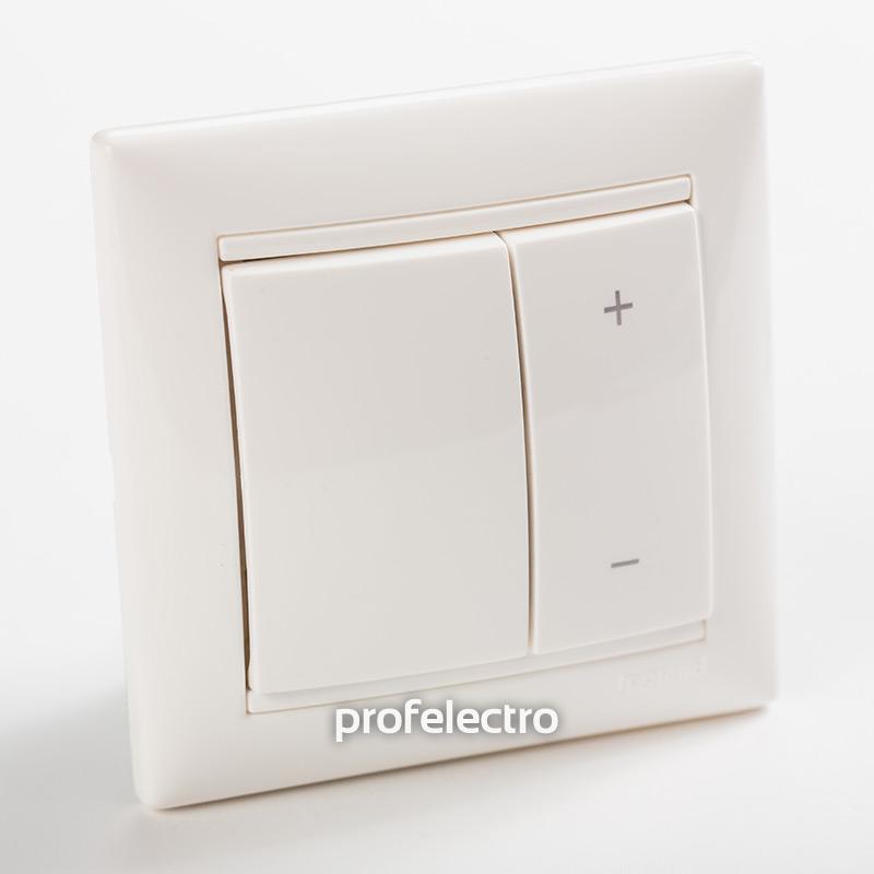 Светорегулятор кнопочный 40-600Вт белый с рамкой Valena