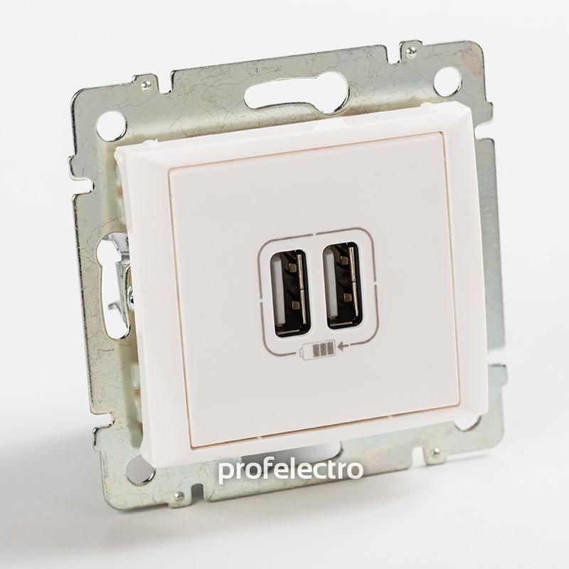 Зарядное устройство USB белое без рамки Valena