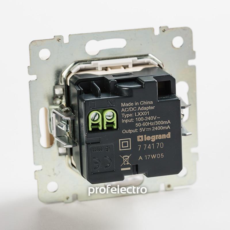 Механизм зарядного устройства USB белый Valena