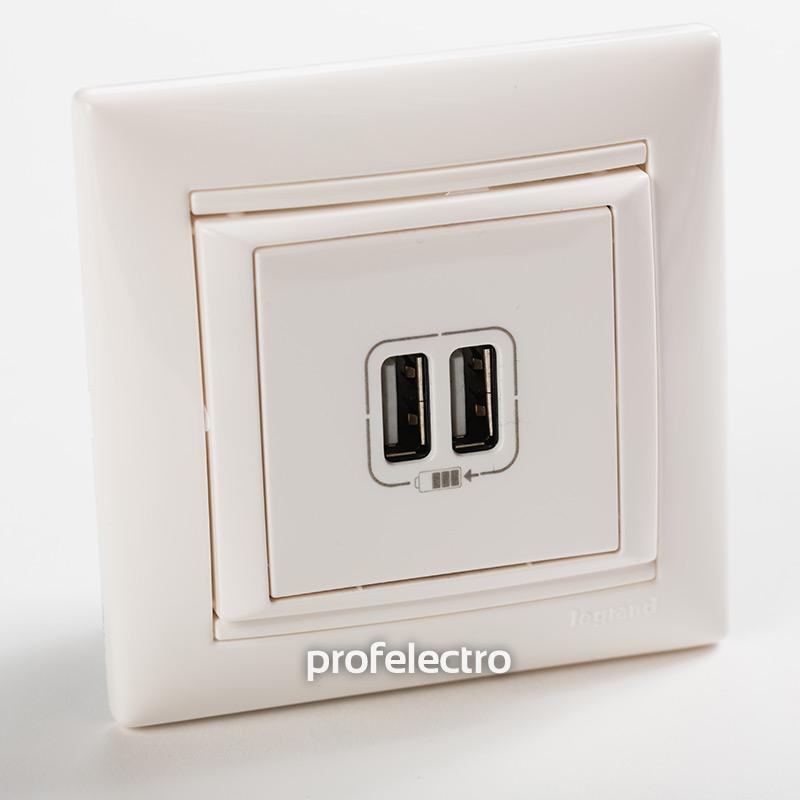 Зарядное устройство USB белое с рамкой Valena