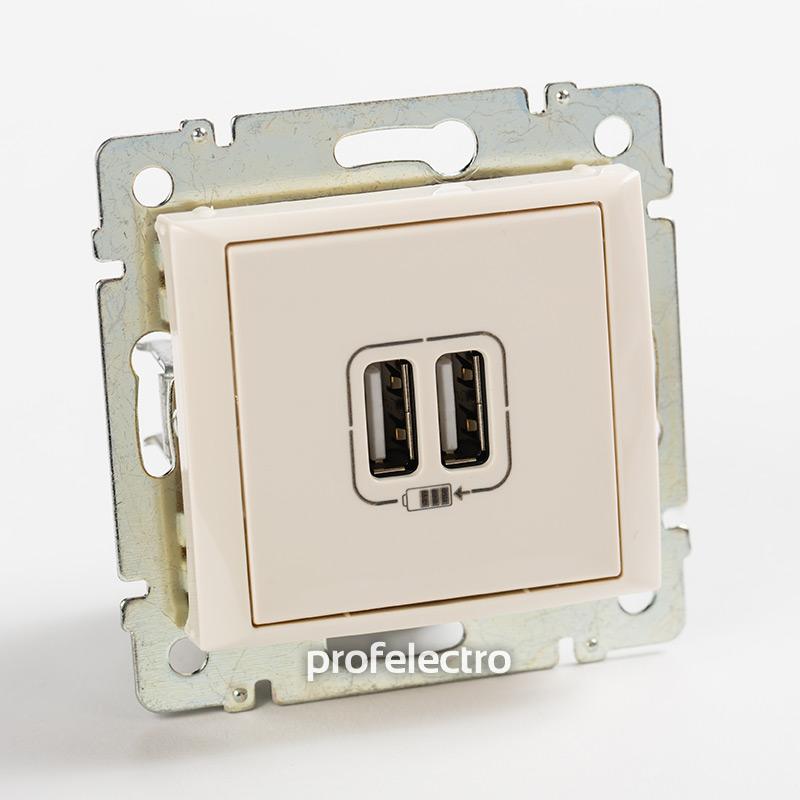 Зарядное устройство USB слоновая кость без рамки Valena