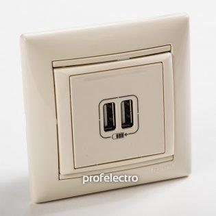 774170 Зарядное устройство USB слоновая кость с рамкой 16А, 250В Valena Legrand на profelectro.com.ua